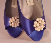 wedding photo - Cobalt Blue Satin Wedding Shoes Bridal Wedge Open Toe With Pearls and Crystals Bridal Shoes Red Satin, Ruby Red Slippers