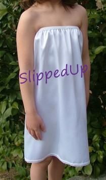 a7ff2fc2e72 Tutu Slip - White STRETCH SATIN - LONGER Length Tutu Dress Slip - Strapless  Half Slip -Teen Girls Slip Size 7 8 Lingerie