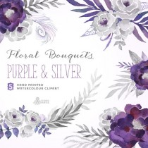 wedding photo - Purple & Silver Floral Bouquets. Digital Clipart. Hand painted, watercolour flowers, wedding diy elements, gray, invite, printable, grey