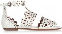 wedding photo - AlaÏa Laser-cut patent-leather sandals