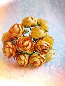 wedding photo - Saffron yellow Garden Roses Vintage style Millinery Flower Bouquet - for decorating, gift wrapping, weddings, party supply, holiday