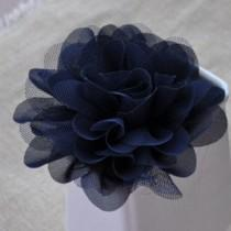 wedding photo - navy blue chiffon rosette, chic rosette, shabby chiffon rosette, chiffon rose flowers, wedding decors, bouquet supply, corsage flower