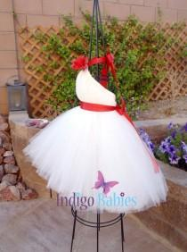 wedding photo - Tutu Dress, Flower Girl Dress, White Tulle, Scarlet Red Ribbon, Apple Red Flower, Fabric Flower, Portrait Dress, Wedding Flower Girl Dress