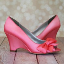 wedding photo - Wedding Shoes -- Pink Coral Peep Toe Wedge Wedding Shoes with Off Center Matching Bow on the Toe