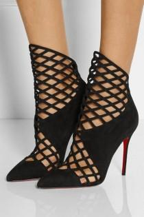 wedding photo - Christian Louboutin Mrs Bouglione Suede Heel Bootie Boot $1595 Sz 38.5