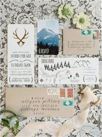 wedding photo - Creatively Displayed Wedding Invitations