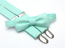 wedding photo - Ring bearer outfit, mint bow tie and suspenders, toddler bow tie and suspenders, bow tie and suspender set, mint wedding, wedding suspenders