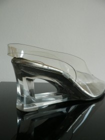 wedding photo - vintage clear lucite wedge slingback heels / mod party shoes / wedding shoes US size 8- 8.5