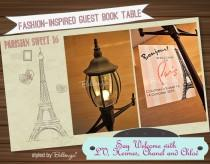 wedding photo - Sweet 16 Parisian Themed Guest Book Table Inspired By Fashion!