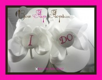 wedding photo - Bridal Flip Flops Wedding Flip Flops Ivory Wedge White Bow Satin I DO Bride Bridesmaid GiftSandals Platform Shoes
