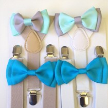 wedding photo - Suspender Bow tie set Mint Baby bowtie Mint and Gray Boys Bow ties Toddler Necktie Gray Mens bowties Rustic Wedding Ring Bearer Outfit