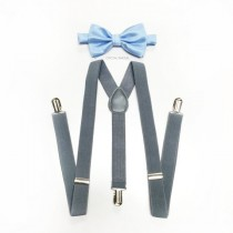wedding photo - light blue bow tie, toddler's suspenders, gray suspenders and sky blue bowtie set, toddler's bow tie for weddings, ring bearer outfit