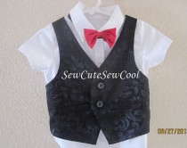 wedding photo - Boy black vest , Baby boy black outfit, ring bearer outfit, boy formal wear