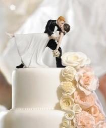"wedding photo - A Romantic Dip"" Dancing Bride And Groom Couple Figurine"