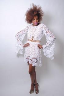 4c0e269d3925 Bohemian Hippie Lace Wedding Dress. white CROCHET LACE DRESS bell sleeve - boho  wedding dress - mini length hippy hippie vintage inspired