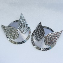 wedding photo - ANGEL Silver & White Satin Wing Nipple Pasties Covers Burlesque