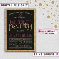 """wedding photo - Bachelorette Party Invitation """"Sparkle On - Pink"""" Collection (Printable File Only) Last Fling Pink Gold Glitter Bachelorette Invite"""