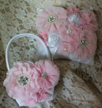 wedding photo - Cream/White Flower Girl Baskets/Ring Bearer Pillow- Pink Chiffon Flowers Accented with Rhinestones and Pearls