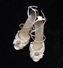 wedding photo - MICKEY IVORY - Alencon Lace Bridal Wedding Wedge Heels 3 inch Heels, Lace Bridal Shoes, Lace Bridal Wedge