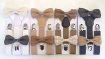wedding photo - Suspender Bow tie set Burlap Baby bowtie Suspenders Jute Boys Bowties Tan Toddler Necktie Gray Mens bowtie Wedding Ring Bearer Outfit Rustic