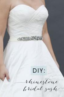 wedding photo - Learn How To Make This Chic DIY Rhinestone Bridal Sash!