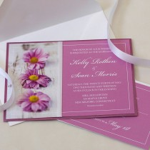 wedding photo - Pink Daisy Wedding Invitation, Pink Wedding, Gerber Daisy Wedding, DEPOSIT