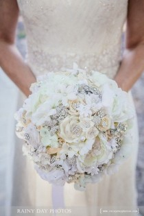 wedding photo - Softest White Handmade Flower Brooch Bouquet -- Deposit On A Made-to-order Wedding Bouquet