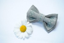 wedding photo - Embroidered bow tie Grey bowtie Bow tie in handmade Mens bowtie Bow tie Bow ties Bow tie men Pretied bow tie Men bow tie Rustic wedding