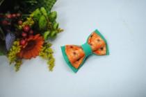wedding photo - Embroidered green orange men's bowtie Sunflower pattern Pretied bow tie Groomsman bow tie bowtie men bow tie women bow tie unisex gifts Kids