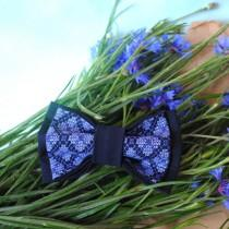 wedding photo - Father's day gift Embroidered man's bow tie Blue navy pretied bowtie Wedding bow tie Groomsman bow tie Gift for him Dad's gift Boys bow ties