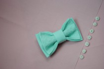 wedding photo - Embroidered bowtie Mint pretied bow tie Groomsmen bow ties Men's bowtie Bow tie Gifts for brother Mint wedding Gift for him Anniversary gift