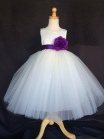 wedding photo - Ivory Wedding Bridal Bridesmaids Tulle Flower Girl dress Toddler 9 12 18 24 Months 2 4 6 8 10 12 14 Sash Color 24