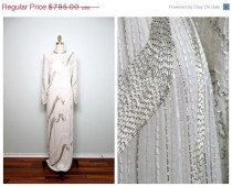 wedding photo - ANNUAL 2-DAY SALE Heavily Beaded Wedding Gown // White & Silver Silk Beaded Full Length Dress // Art Deco Wedding Dress 32 34