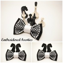 wedding photo - Black white chess bow tie Gift ideas for him Groomsman bow tie Gifts for boyfriend Men's bowties Embroidered bow ties Unisex bow tie