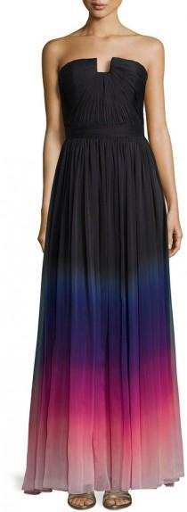 wedding photo - Halston Heritage Strapless Ombre Gown with Ruching