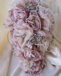 wedding photo - Bouquet/Fabric Bouquet/Vintage Styled Shabby Chic Fabric Wedding Bouquet/Teardrop Bridal Bouquet With Pearls And Rhinestones