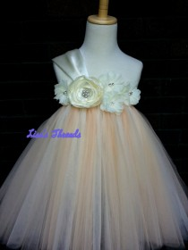 wedding photo - Ivory & Chanpagne Flower girl dress/ Junior bridesmaids dress/ Flower girl pixie tutu dress/ Rhinestone tulle dress