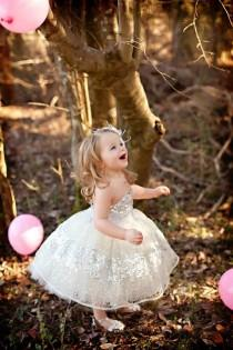 wedding photo - Constellation Flower Girl Dress- Silver