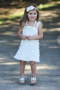 wedding photo - Flower Girls Dress,  Girls Petti Dress, flower girl, Rustic wedding, christening, baptism, baby girl ivory dress, toddler dress