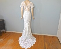 wedding photo - Vintage Lace WEDDING Dress, Crochet Lace Wedding Dress, Hippie Boho WEDDING dress, Beach Wedding Dress Sz Medium