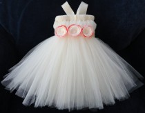 wedding photo - Ivory Flower Girl Dress, Flowergirl Dresses for Baby or Toddler Girls, Classic, Woodland, Shabby Chic Weddings, Flower Girl Tutu, Tutu Dress