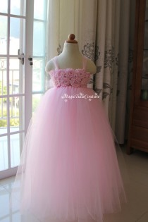 wedding photo - Pink Flower Girl Dress Pink Girl Dress Tulle Dress Wedding Toddler Dress Girl Dresses Birthday Dress Party Dress