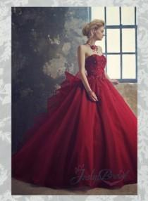 wedding photo - Scarlet burgundy colored organza ball gown wedding dress