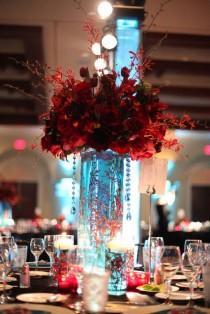 wedding photo - Red And White Bouquets And Centerpieces