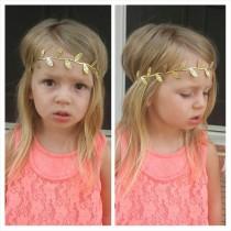 wedding photo - Gold leaf crown headband newborn infant toddler adult wedding flower girl gift