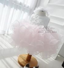 wedding photo - Flower Girl Dress-junior bridesmaid dress-girl dress-Baby Dress-pink tulle Flower girl Dress with beading-birthday party dress-new dress