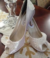 wedding photo - Peep Toe Platform Pump Hand Beaded Lace Custom Bride Wedding Shoe Ivory White Alencon Lace
