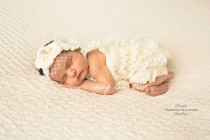 wedding photo - Baby girl Clothes, Newborn girl clothes,Ivory Lace Petti Romper & Birdcage Veil Headband SET,Preemie,Infant,Flower Girl Dress,Baptism Outfit