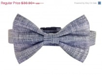 wedding photo - ON SALE Gray Bow Tie Dog Collar Set/ Wedding Dog Collar and Bow Tie: Smoke Washed Linen