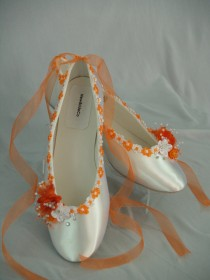 wedding photo - Wedding Flat Shoes Tangerine trimmed, other colors available